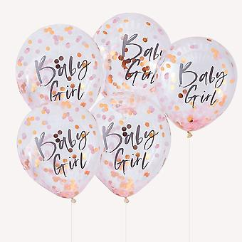 Rose Gold Baby Shower Confetti Balloons | Oh Baby Party Decoration x5