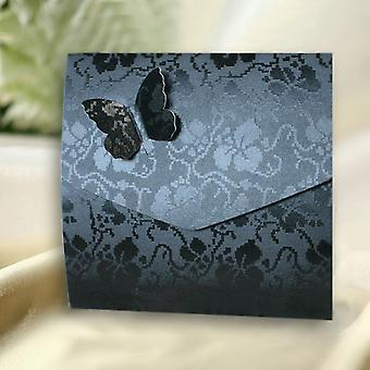 10 Black Broderie Butterfly Wedding Pocketfold Invitations.