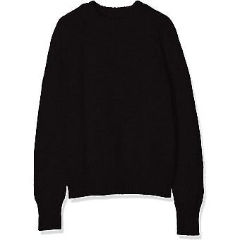 Meraki Women's Boxy Crew Neck Sweater,  Black, EU XS (US 0-2)