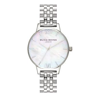 Olivia Burton Ob16mop02 Mother Of Pearl White Silver Bracelet Ladies Watch