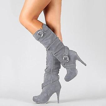 נשים רזה עקב גבוה בוהן עגולה פלטפורמה אופנתי נשים עור Pu מגפיים