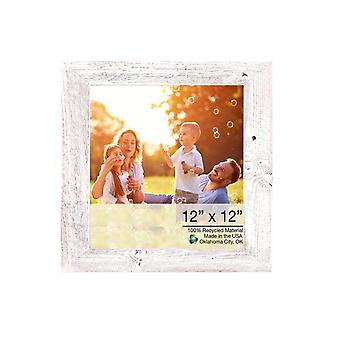 12x12 Rustieke witgekalkte fotolijst met plexiglas houder