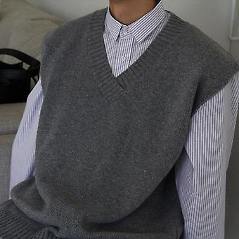 Sweater Vest Solid Simple V-neck Sleeveless Sweaters Chic Mens Daily Outwear