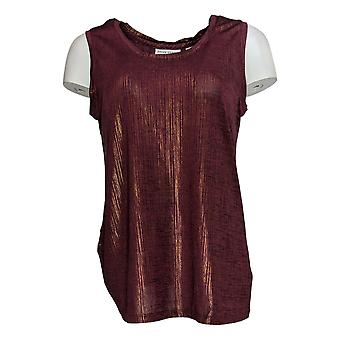 Susan Graver Women's Top Foil Print Tank Scoop Neck Semi Fit Purple A343099
