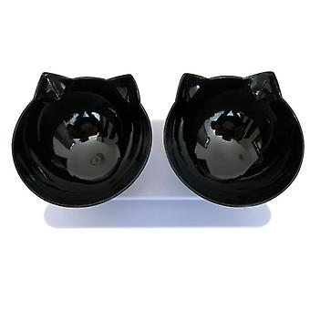 Two Bowls 15 Degree Tilt Elevated Cat Bowl Dog Bowl Pet Double Bowl Protection Cervical Spine Cat Food Utensils Pet Supplies