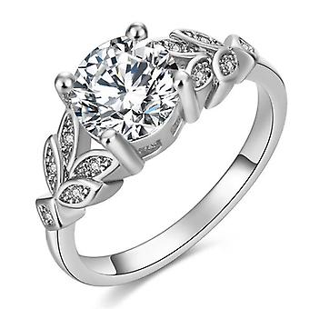 Hot Crystal Silvery Women Leaf Engagement Rings Zircon Cubic Graceful