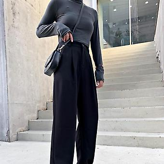 Women Suit Pants, Spring Office Lady Long Trousers, Solid Loose High Waist