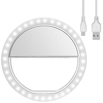 Diyife ring light, [newest version] rechargeable selfie ring light, 3-level brightness adjustment cl