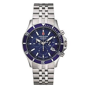 Relógio Militar Alpino Suíço Cronógrafo De Quartzo Analógico 7022.9135SAM Aço inoxidável