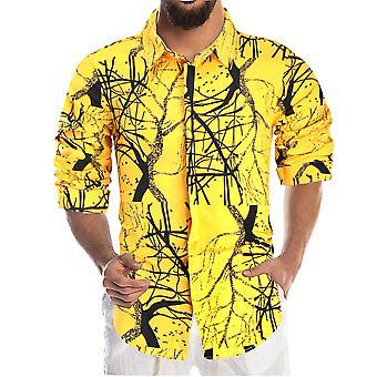 YANGFAN Men's Branch Print Long Sleeve Shirt