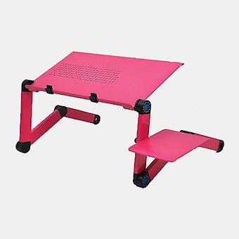 Yili multifunctional foldable telecommuting wokers laptop desk table tv bed computer mackbook desktop holder with a mouse pad (rose)