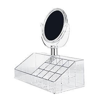 Organizador de maquiagem com 15 compartimentos e espelho