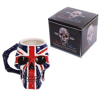 Novelty skull head union flag ceramic mug