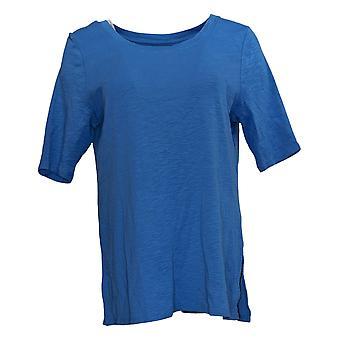 J.Jill Women's Top Pima Cotton Scoop Neck Elbow Sleeve Knit Blue A390664