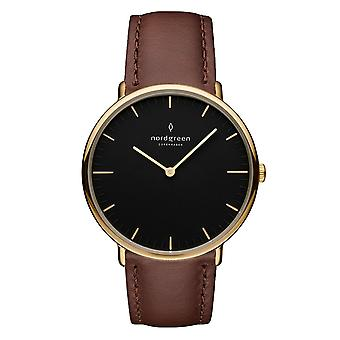 Nordgreen Unisex Native Leather Gold 40mm Watch NR40GOLEBRBL