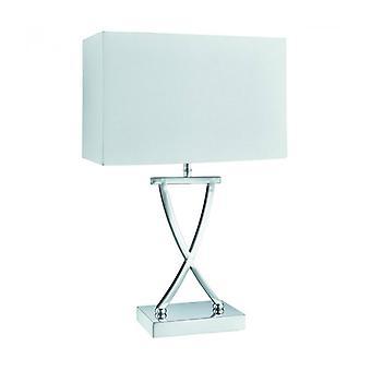Lámpara De Mesa 46 Cm, En Cromo Con Pantalla Blanca