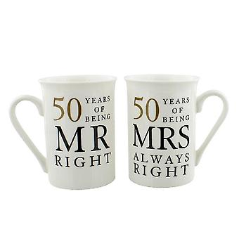 Amore Mr & Mrs Right Tazze per il 50 ° anniversario