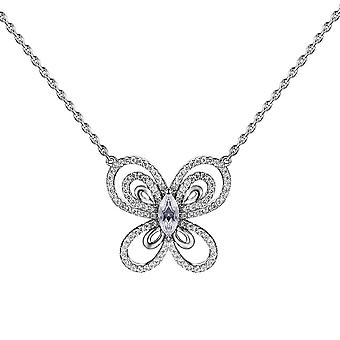 S925 solid sterling silver chain necklace the one jewelry zirconia butterfly-shaped 18 inch