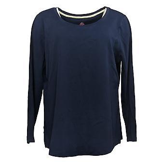 Isaac Mizrahi En direct! Femmes's Top Essentials Shirttail Hem Navy A387524