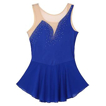 Women Adult Ice Skating Dance Costumes Mesh Splice Bodice With Shiny Figure