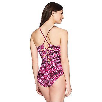 Brand - Coastal Blue Women's Control One Piece Swimsuit, Ripple Effect/Pink, L (12-14)