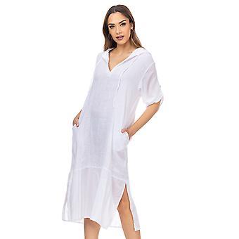V hals maxi linnen jurk met capuchon, zakken en lange mouwen
