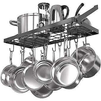 Square Grid Wall Mount Pot Rack, Kitchen Cookware Hanging Organizer