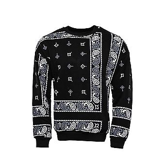 Black patterned crew neck sweater
