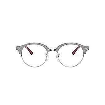 Ray-Ban Rx4246v CLUBROUND-0RX4246V8050, Wrinkled Grey On Bordeaux, 49 Unisex-Adult