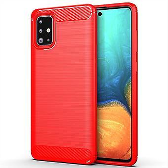 Tpu carbon fibre case for samsung a71 5g red mfkj-671