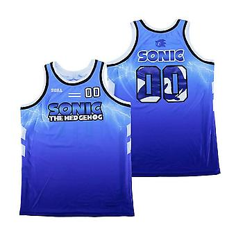 Men's Sonic #00 The Hedgehog Basketball Jersey Stitched Sports T Shirt Blue Size S-xxl
