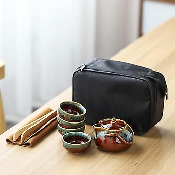 المحمولة على الطراز الشرقي السفر الشاي مجموعة مع 1 وعاء و 4 أكواب