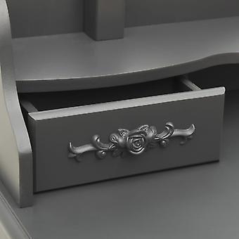 vidaXL kaptafel set met kruk grijs 75x69x140 cm Paulownia hout
