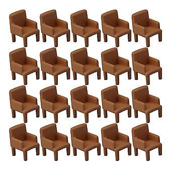 ل20pcs تعيين 1:50 نموذج الكراسي لدمية البيت مصغرة أريكة الكراسي براون WS2635