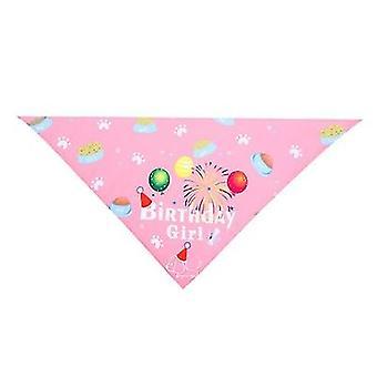 Pet Urodziny Kapelusz Ślina Ręcznik Trójkąt Szalik Pet Akcesoria (Różowy)