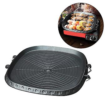 Korean-style square grill pan with maifan stone coated surface non-stick smokeless stovetop plate for indoor outdoor camping bbq