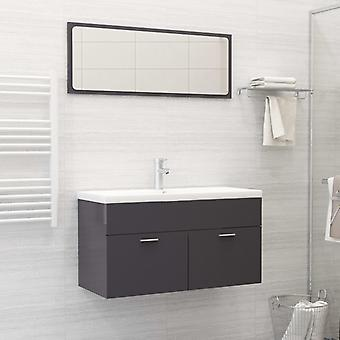 mobili da bagno vidaXL set truciolato grigio lucido