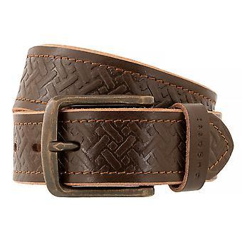 bugatti Belt Men's Belt Full Cattle Leather Brown 7764