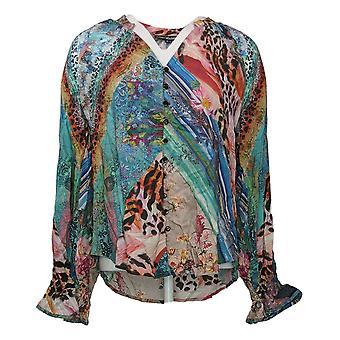 Tolani Collection Damen Top Rüschen Manschette Bluse Blau A389943