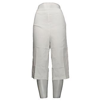 Susan Graver Women's Plus Pants Pedal Pushers w / Pockets White A254358