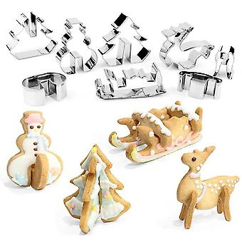 Christmas Stainless Steel 3d Cookie Cutters Set Cookies Molds