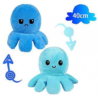 40cm gigantische omkeerbare octopus knuffel dier omkeerbare happy sad octopus pluche speelgoed toon je stemming zonder een woord te zeggen! Blauw en donkerblauw