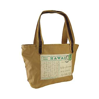 Hawaii Post Card Print Canvas Tote Handbag