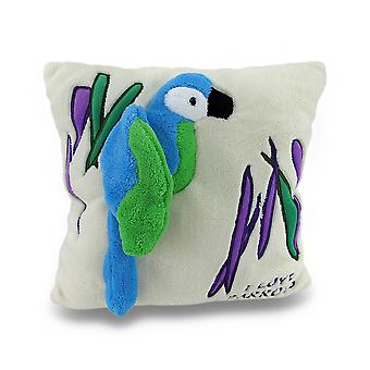 I Love Parrots Ivory Soft Fuzzy 2D Tropical Parrot Throw Pillow 14in.