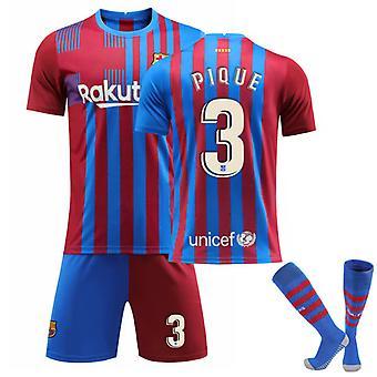 PIQUE #3 Jersey Home 2021-2022 Ny säsong Barcelona Fotboll T-Shirts Jersey Set för barn ungdomar