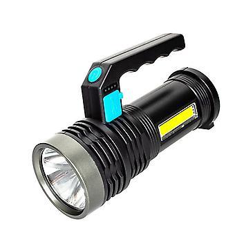 Torche LED USB rechargeable, lumière de lanterne super brillante avec poignée et lampe de travail COB, projecteur étanche à 4 modes pour le camping Pêche Randonnée en plein air, (noir)