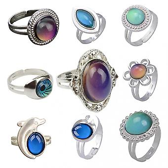European And American Retro Palace Drop-shaped Gemstone Thermochromic Ring Christmas Gift Ring 9-piece Set
