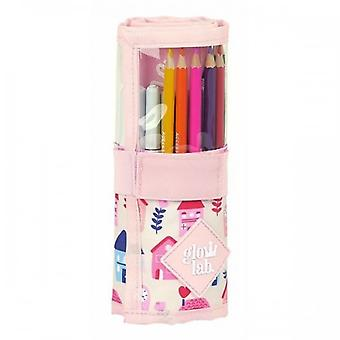 Pencil Case Glow Lab Welcome Home Roll-up Pink (27 Pieces)