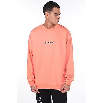 Menn Tupac Trykt Oransje Crew Neck Sweatshirt