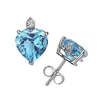 Herz-Schliff blauer Topas und Diamant-Ohrstecker 14K White Gold